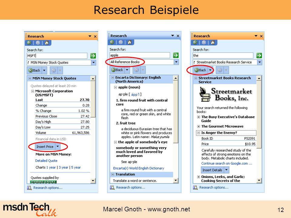 Marcel Gnoth - www.gnoth.net 12 Research Beispiele