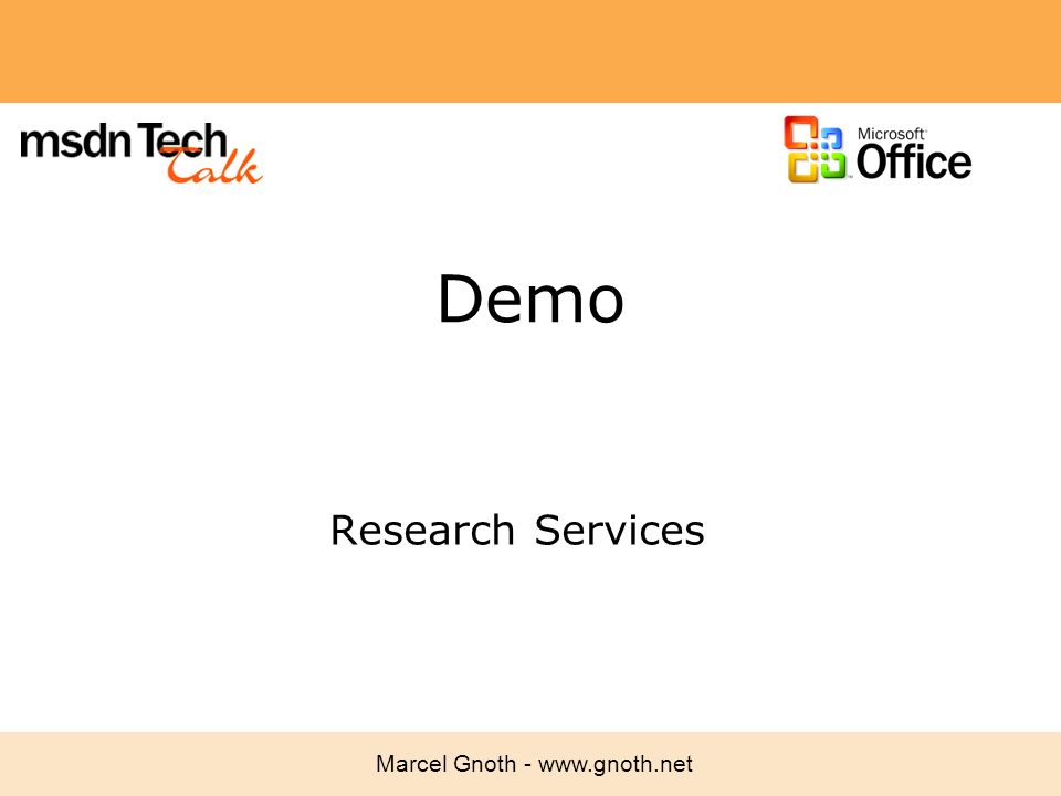 Marcel Gnoth - www.gnoth.net Demo Research Services