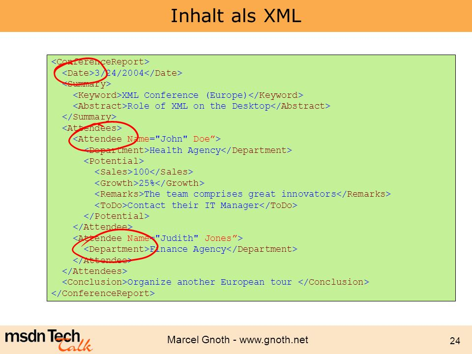 Marcel Gnoth - www.gnoth.net 24 Inhalt als XML 3/24/2004 XML Conference (Europe) Role of XML on the Desktop Health Agency 100 25% The team comprises g