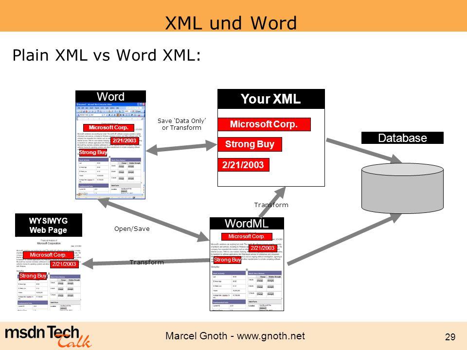 Marcel Gnoth - www.gnoth.net 29 XML und Word Plain XML vs Word XML: Your XML WordML Microsoft Corp. 2/21/2003 Strong Buy Word Microsoft Corp. 2/21/200
