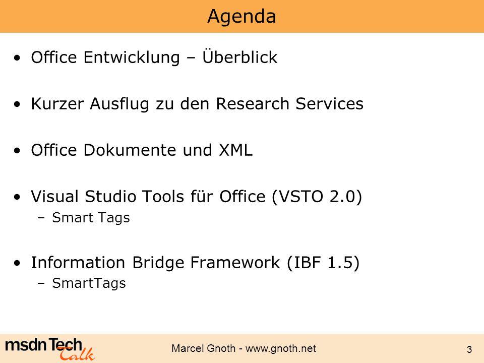 Marcel Gnoth - www.gnoth.net 44 Controls Managed Controls (WinForms-Controls) Spezielle Host Controls –Erweitern OO-Modelle, DataBinding –Host Controls in Excel Chart, ListObject NamedRange, XMLMappedRange –Host Controls in Word Bookmark XMLNode, XMLNodes Steuerelemente können dynamisch hinzugefügt und gelöscht werden –Ermöglicht interaktive Dokumente, Controls werden abhängig vom Anwenderverhalten erzeugt und entfernt Dim txtData As Microsoft.Office.Tools.Excel.Controls.TextBox txtData = Me.Controls.AddTextBox(10, 10, 100, 100, txtData ) txtData.Text = Hallo