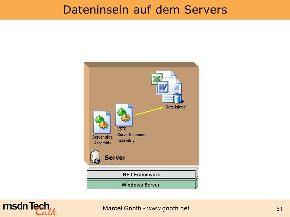 Marcel Gnoth - www.gnoth.net 51 Dateninseln auf dem Servers Windows Server.NET Framework Data Cache Data Island Server-side Assembly Server VSTO Serve
