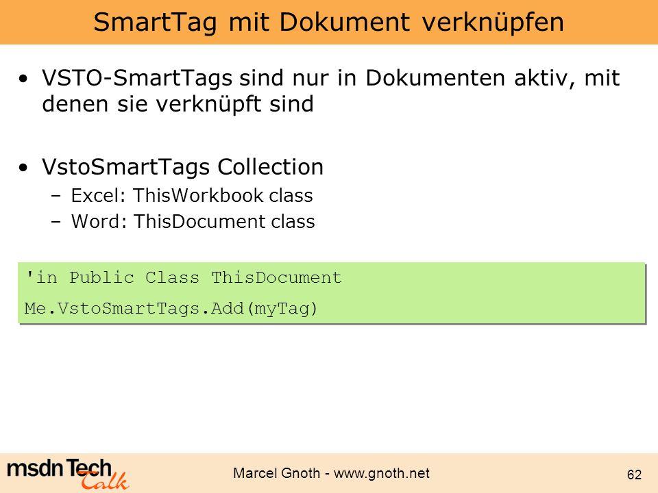 Marcel Gnoth - www.gnoth.net 62 SmartTag mit Dokument verknüpfen VSTO-SmartTags sind nur in Dokumenten aktiv, mit denen sie verknüpft sind VstoSmartTa