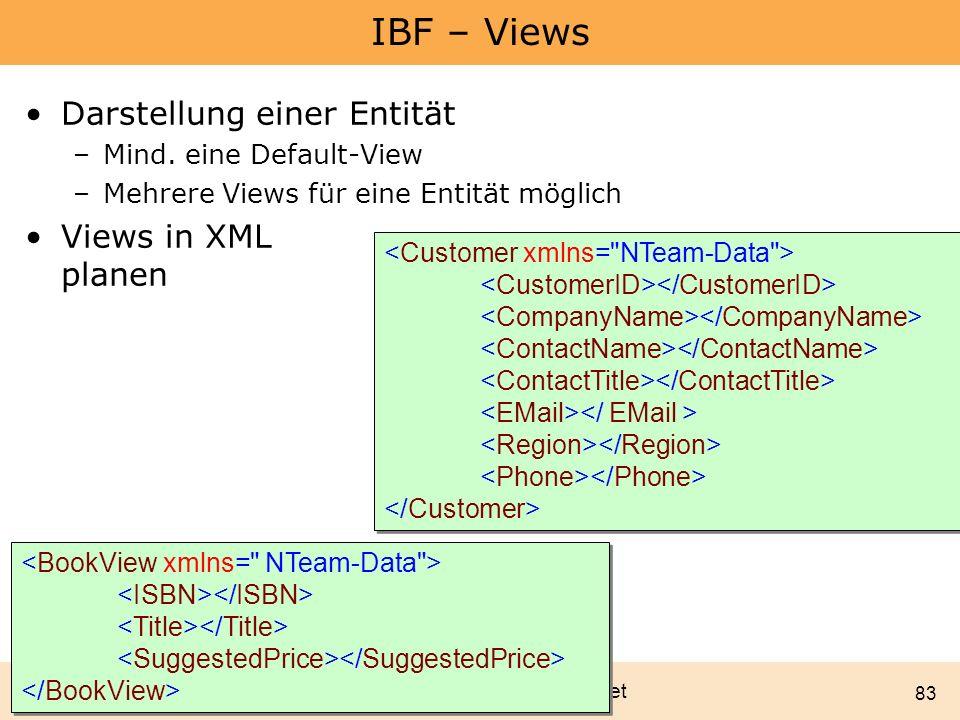 Marcel Gnoth - www.gnoth.net 83 IBF – Views Darstellung einer Entität –Mind. eine Default-View –Mehrere Views für eine Entität möglich Views in XML pl