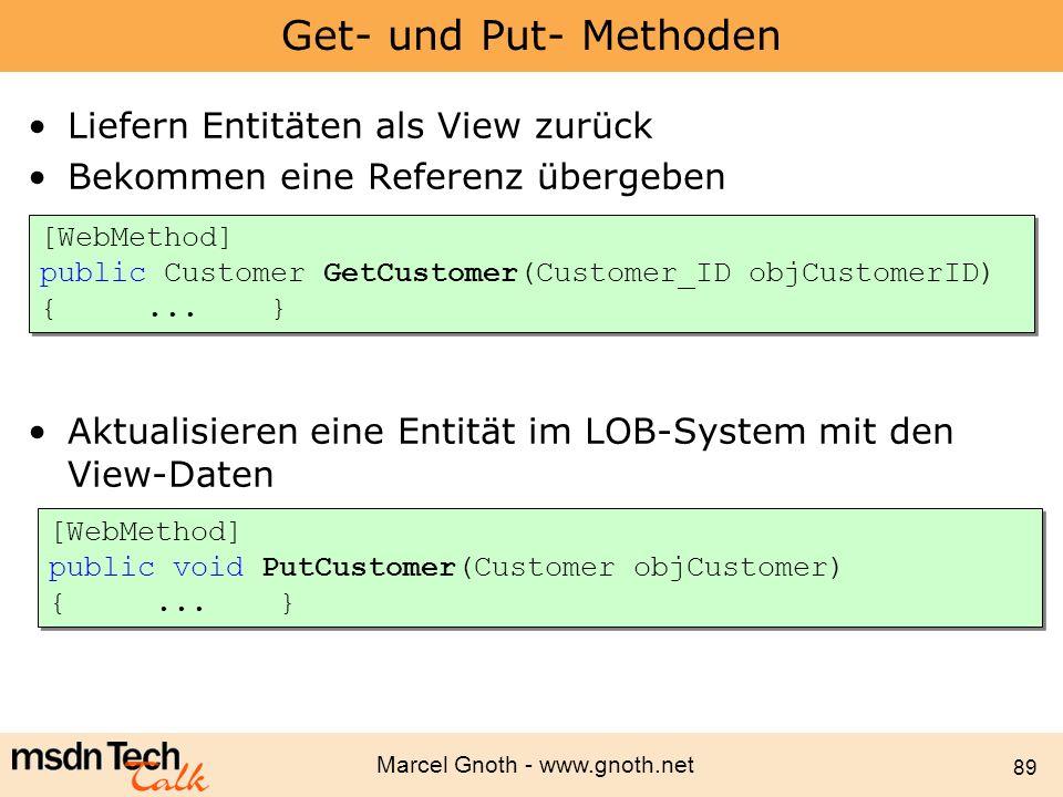 Marcel Gnoth - www.gnoth.net 89 Get- und Put- Methoden Liefern Entitäten als View zurück Bekommen eine Referenz übergeben Aktualisieren eine Entität i