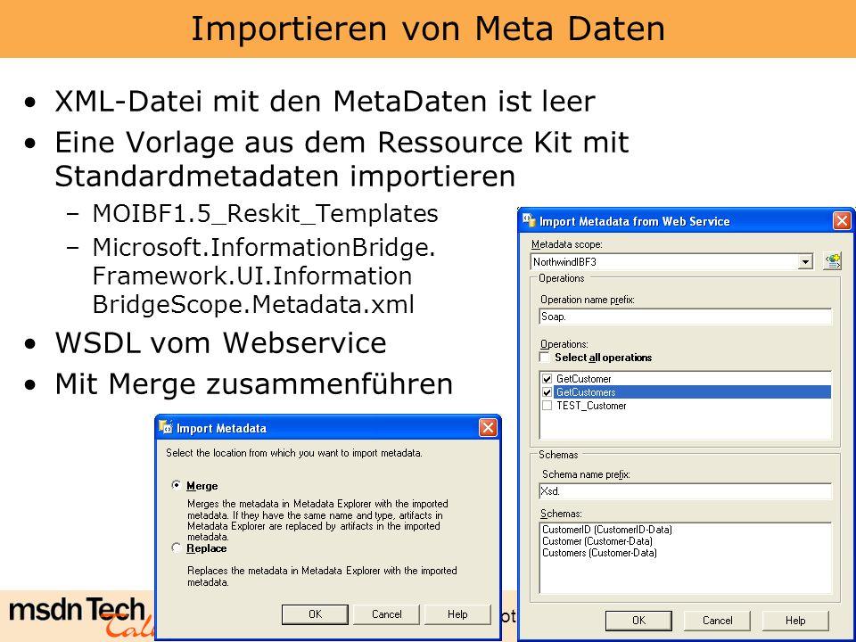 Marcel Gnoth - www.gnoth.net 95 Importieren von Meta Daten XML-Datei mit den MetaDaten ist leer Eine Vorlage aus dem Ressource Kit mit Standardmetadat