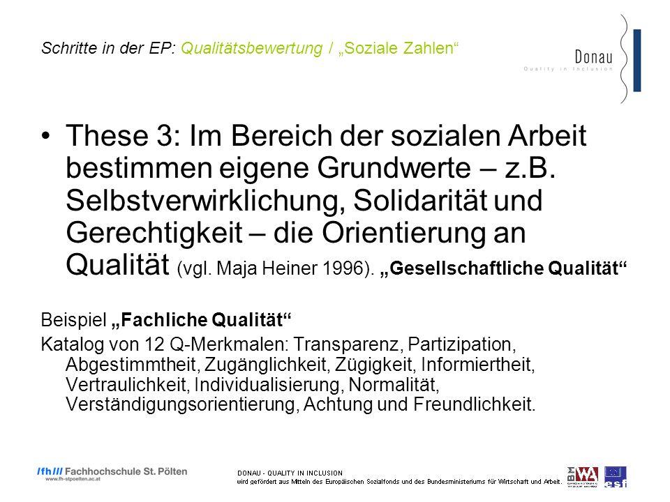 Schritte in der EP: Qualitätsbewertung / Soziale Zahlen These 3: Im Bereich der sozialen Arbeit bestimmen eigene Grundwerte – z.B.