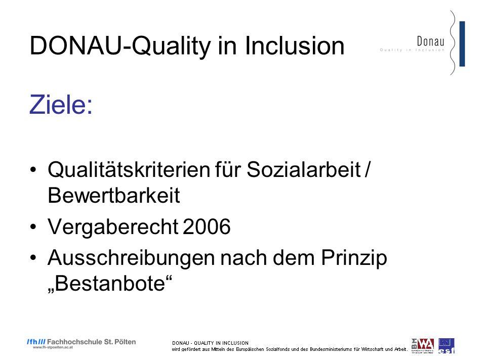 DONAU-Quality in Inclusion Ziele: Qualitätskriterien für Sozialarbeit / Bewertbarkeit Vergaberecht 2006 Ausschreibungen nach dem Prinzip Bestanbote