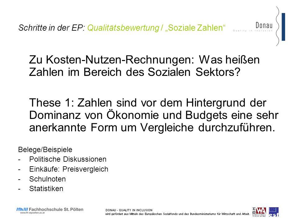 Schritte in der EP: Qualitätsbewertung / Soziale Zahlen Zu Kosten-Nutzen-Rechnungen: Was heißen Zahlen im Bereich des Sozialen Sektors.