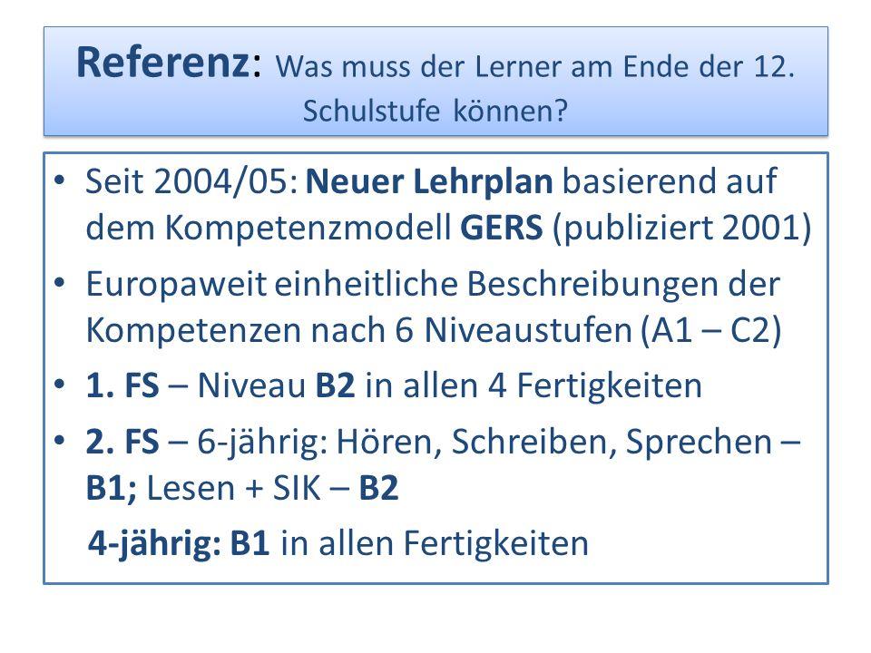 Referenz: Was muss der Lerner am Ende der 12. Schulstufe können? Seit 2004/05: Neuer Lehrplan basierend auf dem Kompetenzmodell GERS (publiziert 2001)