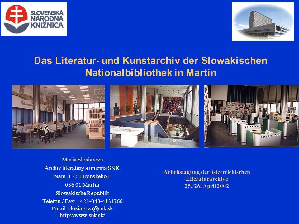 Maria Slosiarova Archiv literatury a umenia SNK Nam.