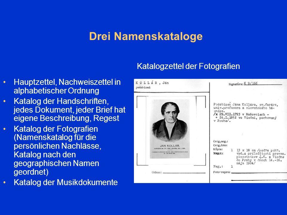 Kataloge Verzeichnisse und Kataloge - in Papierform Kataloge nach dem Typ der Sammlungen Katalogzettel der Briefe, der einen einzelnen Brief beschreibt und ein Regest beinhaltet