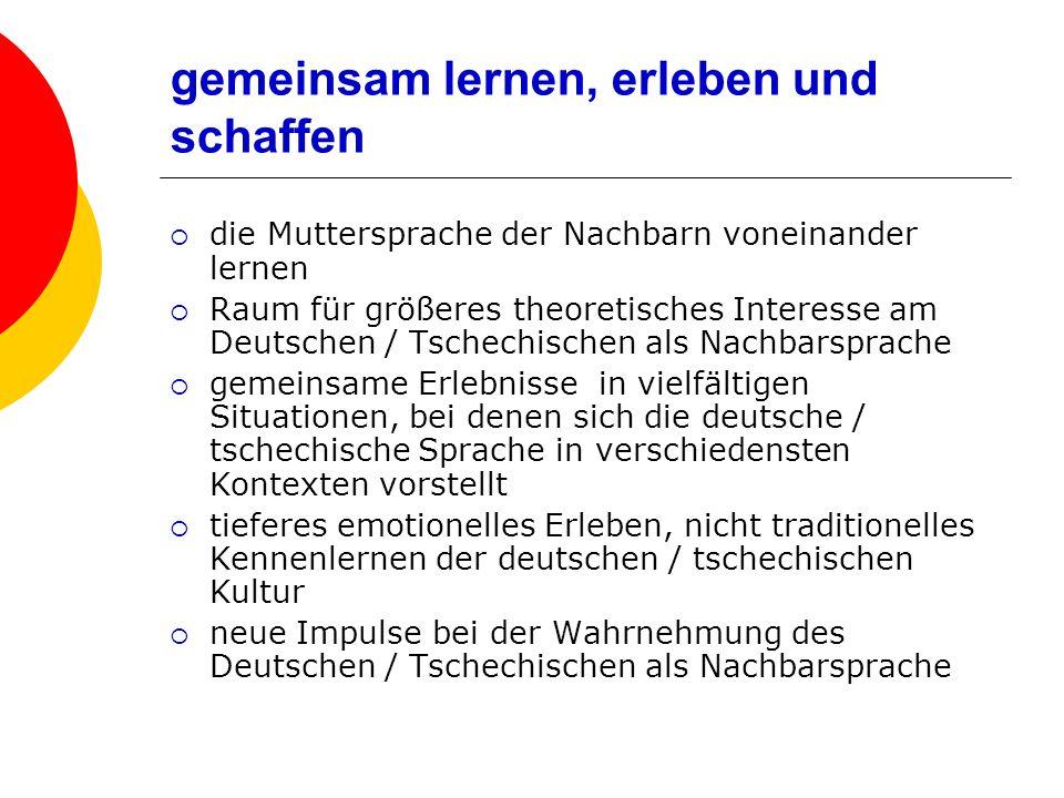 gemeinsam lernen, erleben und schaffen die Muttersprache der Nachbarn voneinander lernen Raum für größeres theoretisches Interesse am Deutschen / Tschechischen als Nachbarsprache gemeinsame Erlebnisse in vielfältigen Situationen, bei denen sich die deutsche / tschechische Sprache in verschiedensten Kontexten vorstellt tieferes emotionelles Erleben, nicht traditionelles Kennenlernen der deutschen / tschechischen Kultur neue Impulse bei der Wahrnehmung des Deutschen / Tschechischen als Nachbarsprache