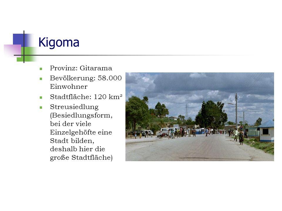 Kigoma Provinz: Gitarama Bevölkerung: 58.000 Einwohner Stadtfläche: 120 km² Streusiedlung (Besiedlungsform, bei der viele Einzelgehöfte eine Stadt bil