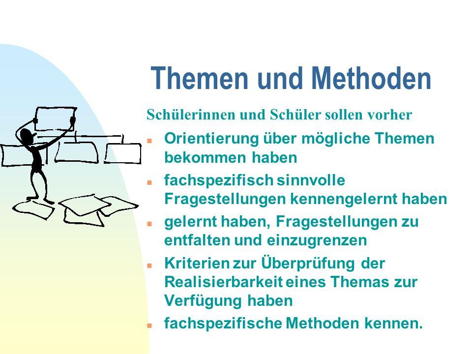 Themen und Methoden n gemeinsame Oberthemen mit unterschiedlichen Schwerpunkten n arbeitsteilige Gruppenarbeiten n neben fachspezifischen auch fächerübergreifende bzw.