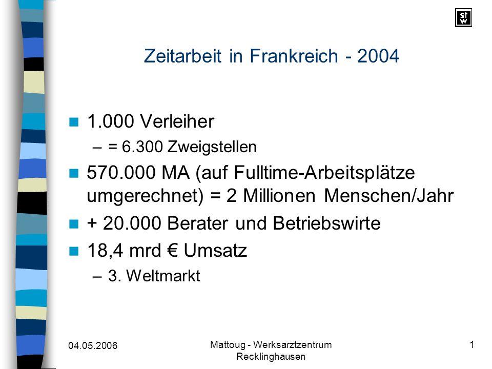 04.05.2006 Mattoug - Werksarztzentrum Recklinghausen 1 Zeitarbeit in Frankreich - 2004 1.000 Verleiher –= 6.300 Zweigstellen 570.000 MA (auf Fulltime-