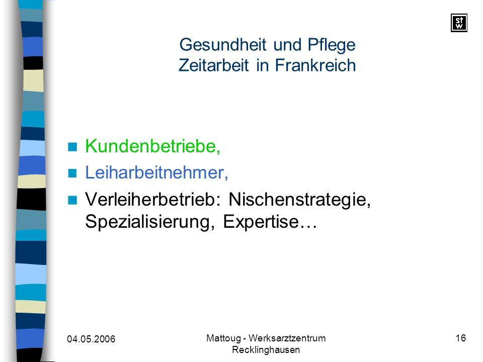 04.05.2006 Mattoug - Werksarztzentrum Recklinghausen 16 Gesundheit und Pflege Zeitarbeit in Frankreich Kundenbetriebe, Leiharbeitnehmer, Verleiherbetr