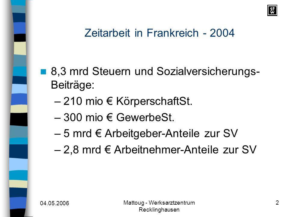 04.05.2006 Mattoug - Werksarztzentrum Recklinghausen 3 Zeitarbeit in Frankreich - 2004 570.000 Zeit-MA –48 % in gewerblicher Tätigkeit –20 % im Baubereich –32 % andere Tätigkeiten