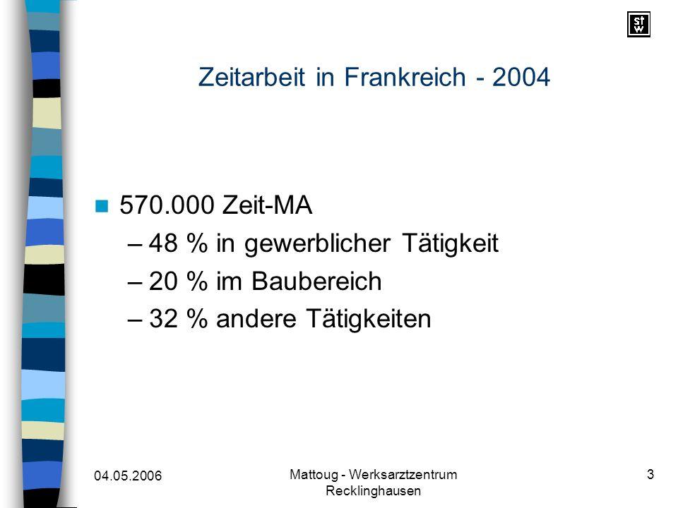 04.05.2006 Mattoug - Werksarztzentrum Recklinghausen 3 Zeitarbeit in Frankreich - 2004 570.000 Zeit-MA –48 % in gewerblicher Tätigkeit –20 % im Bauber