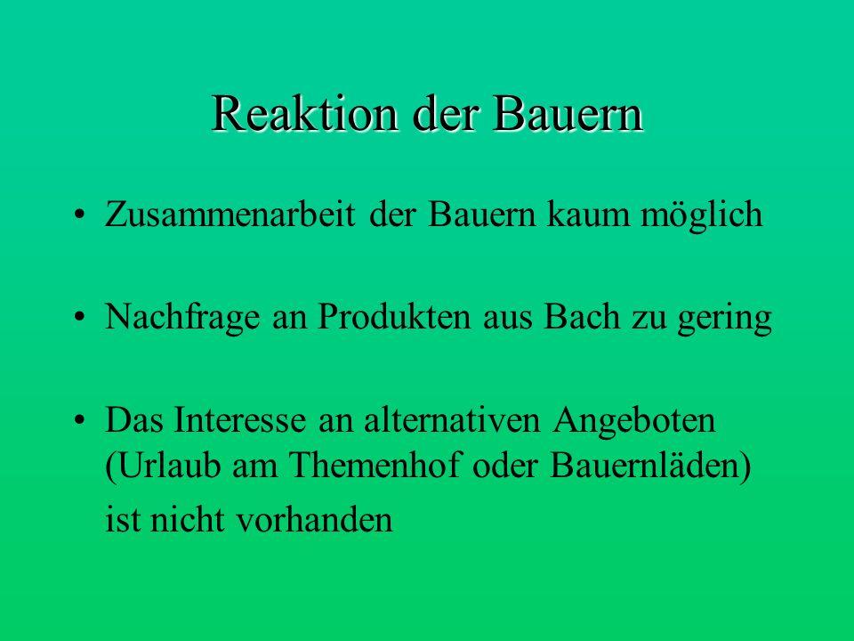 Reaktion der Bauern Zusammenarbeit der Bauern kaum möglich Nachfrage an Produkten aus Bach zu gering Das Interesse an alternativen Angeboten (Urlaub a