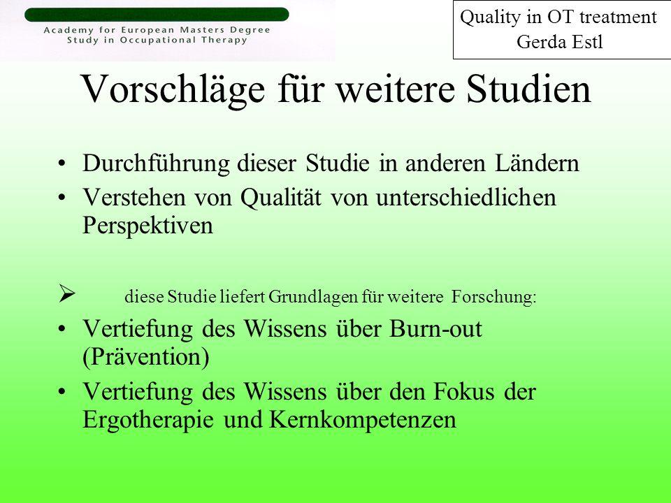 Vorschläge für weitere Studien Durchführung dieser Studie in anderen Ländern Verstehen von Qualität von unterschiedlichen Perspektiven diese Studie li