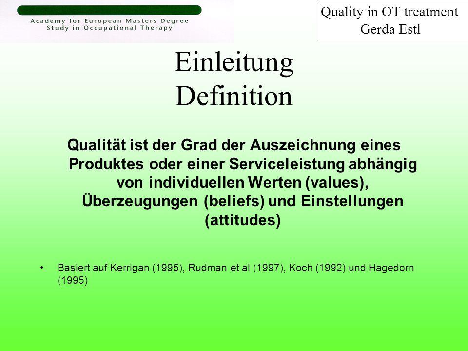 Ziel und Verwendungszweck Ziel: heraus zu finden wie Experten der Ergotherapie Qualität in der Behandlung beschreiben Zweck: Qualität aus Sicht der Experten der Ergotherapie zu verstehen, Indikatoren für Qualität in der Behandlung zu erforschen und Komponenten zu identifizieren, die eine hohe Priorität haben, damit die klinische Patientenbehandlung qualitativ hochwertig durchgeführt werden kann Quality in OT treatment Gerda Estl