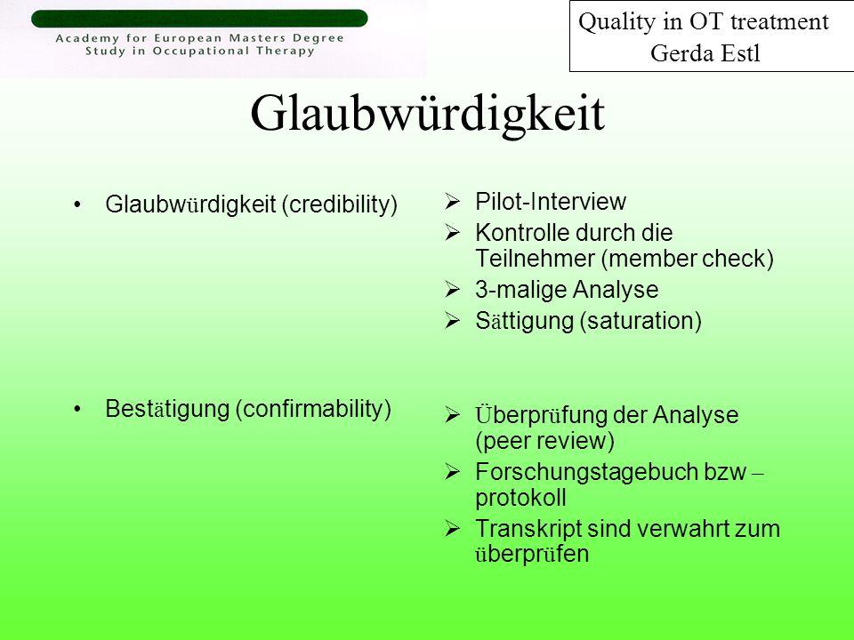 Erkenntnisse Ergotherapeuten beschreiben: Qualit ä t der ergotherapeutischen Behandlung ist ersichtlich durch … 1.Kompetenz in der Durch- und Ausführung berufsspezifische Aufgaben 2.Herausforderung die gute Qualität in der ergotherapetischen Behandlung zu halten trotz (struktureller) Restriktionen 3.Zufriedenheit der Patienten/Klienten Quality in OT treatment Gerda Estl