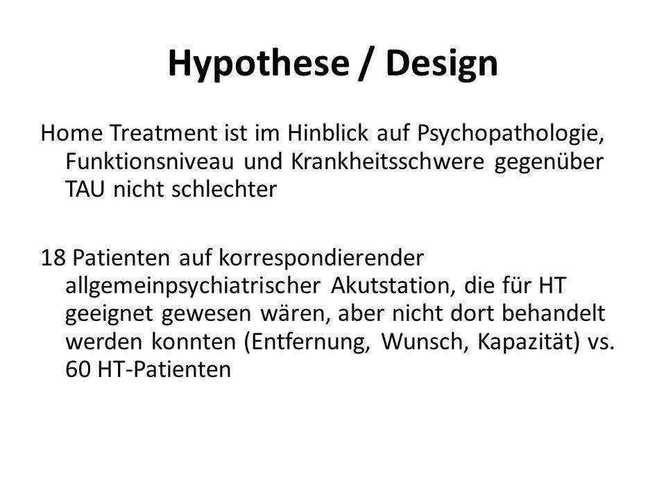 Hypothese / Design Home Treatment ist im Hinblick auf Psychopathologie, Funktionsniveau und Krankheitsschwere gegenüber TAU nicht schlechter 18 Patien