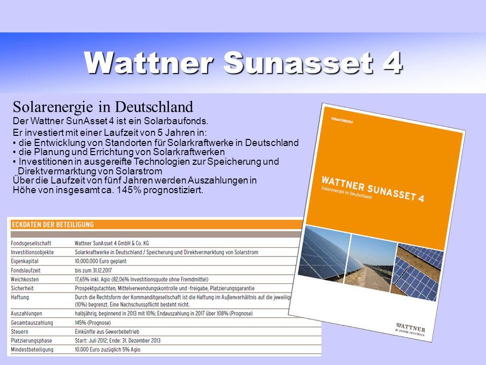 Wattner Sunasset 4 Solarenergie in Deutschland Der Wattner SunAsset 4 ist ein Solarbaufonds. Er investiert mit einer Laufzeit von 5 Jahren in: die Ent
