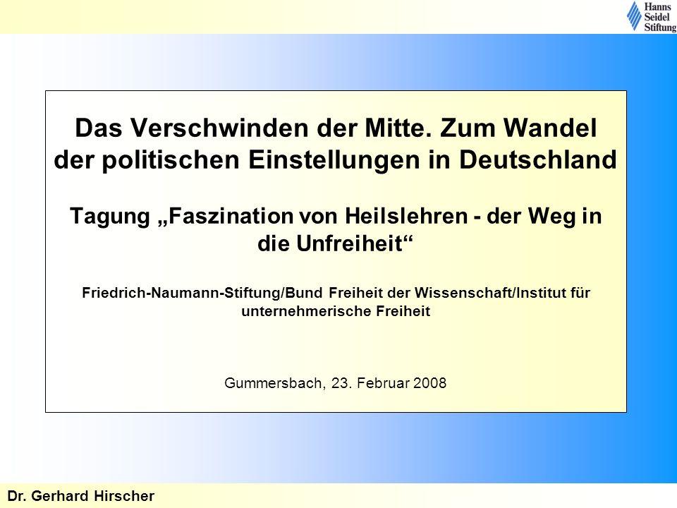 Das Verschwinden der Mitte. Zum Wandel der politischen Einstellungen in Deutschland Tagung Faszination von Heilslehren - der Weg in die Unfreiheit Fri