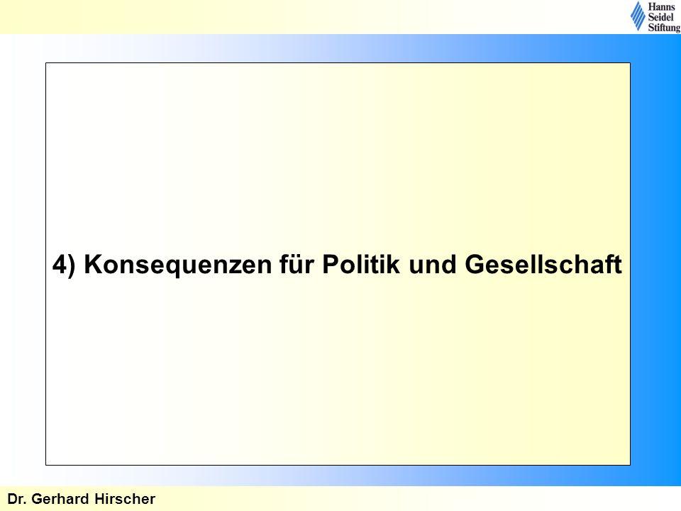 4) Konsequenzen für Politik und Gesellschaft Dr. Gerhard Hirscher