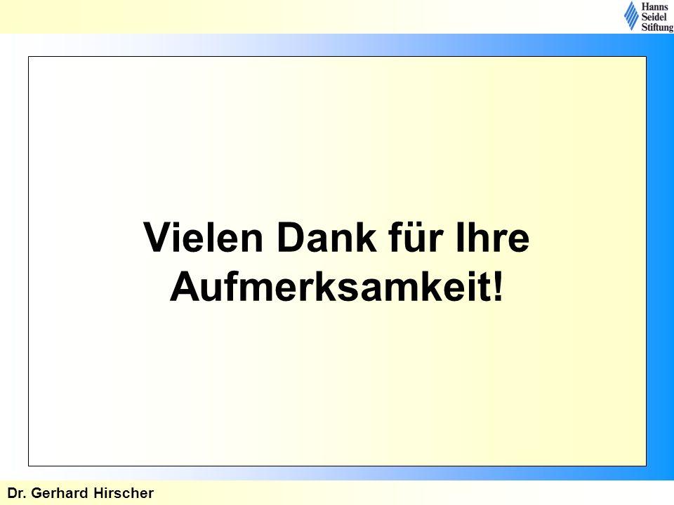 Vielen Dank für Ihre Aufmerksamkeit! Dr. Gerhard Hirscher