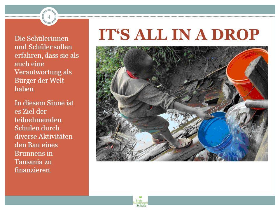 Ziele des Projekts Im Rahmen des Projektmottos Its all in a drop beschäftigen wir uns im ersten Projektabschnitt mit dem Thema aus naturwissenschaftlicher Sicht (ökologischer Fußabdruck, Klimaveränderung, gesamtschulisches Projekt Wasser).