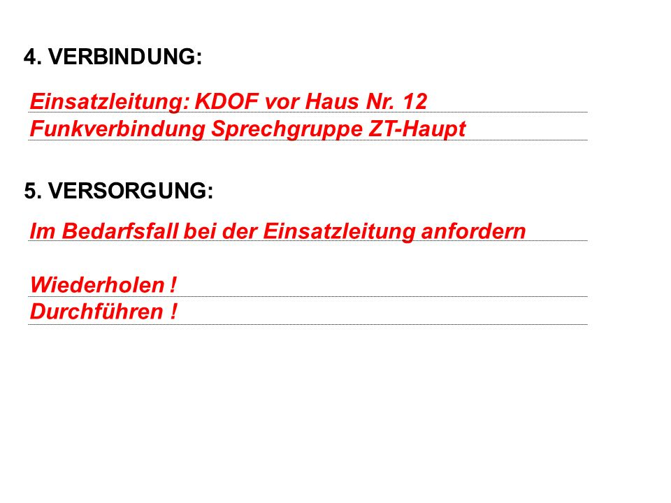 4. VERBINDUNG: 5. VERSORGUNG: Einsatzleitung: KDOF vor Haus Nr.