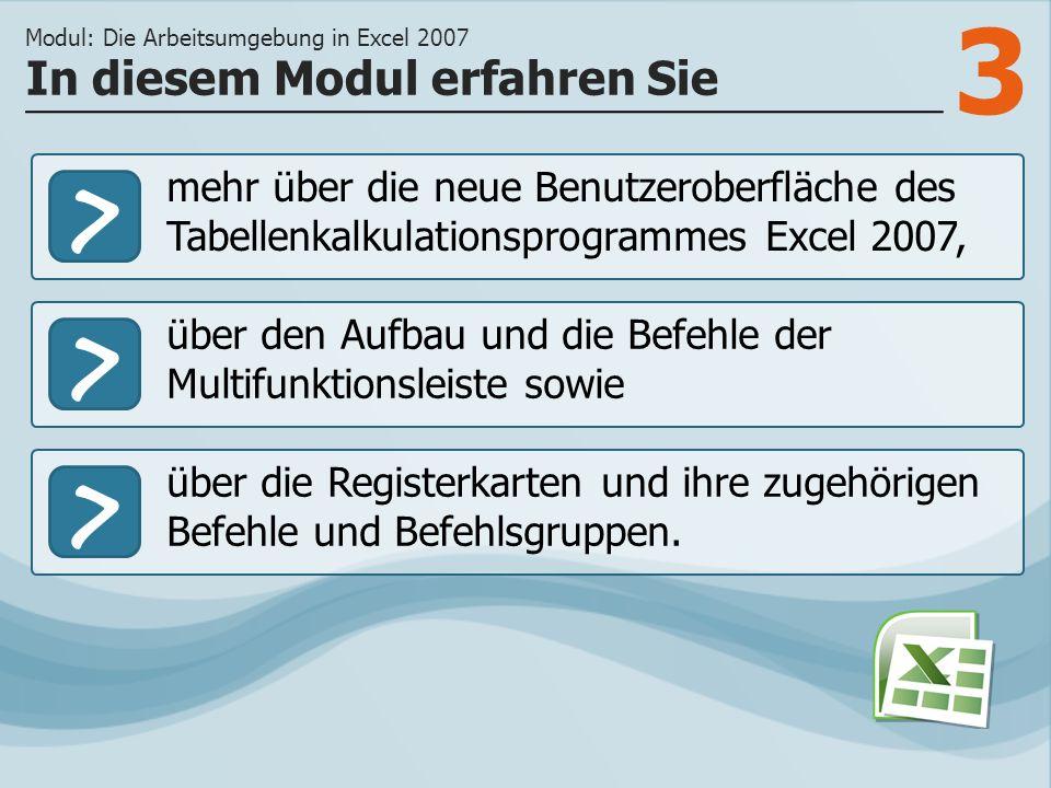 3 >> über den Aufbau und die Befehle der Multifunktionsleiste sowie über die Registerkarten und ihre zugehörigen Befehle und Befehlsgruppen.