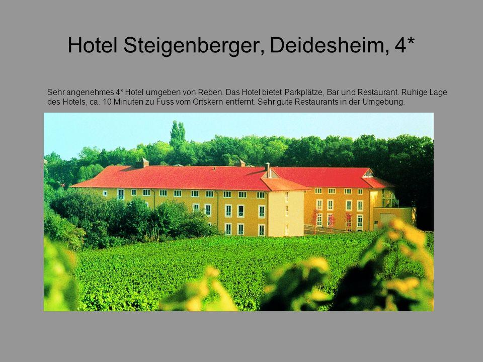 Hotel Steigenberger, Deidesheim, 4* Sehr angenehmes 4* Hotel umgeben von Reben. Das Hotel bietet Parkplätze, Bar und Restaurant. Ruhige Lage des Hotel