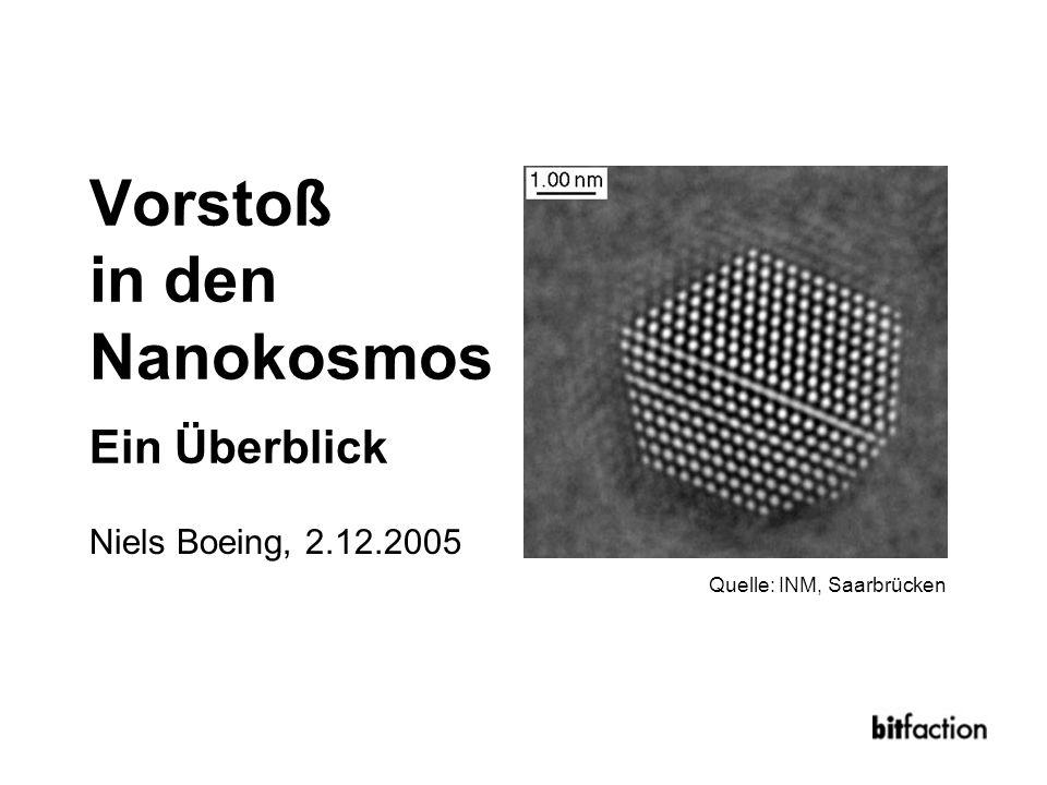 Nanotechnik – 2.12.2005 In meinen Augen sprechen die Prinzipien der Physik nicht gegen die Möglichkeit, Dinge Atom für Atom zu manipulieren Richard Feynman, 1959 Der Mensch ist in diesem Moment Zeitzeuge und Gestalter einer zweiten Genesis, einer grundlegend neuen Evolution materieller Strukturen Gerd Binnig, 2004