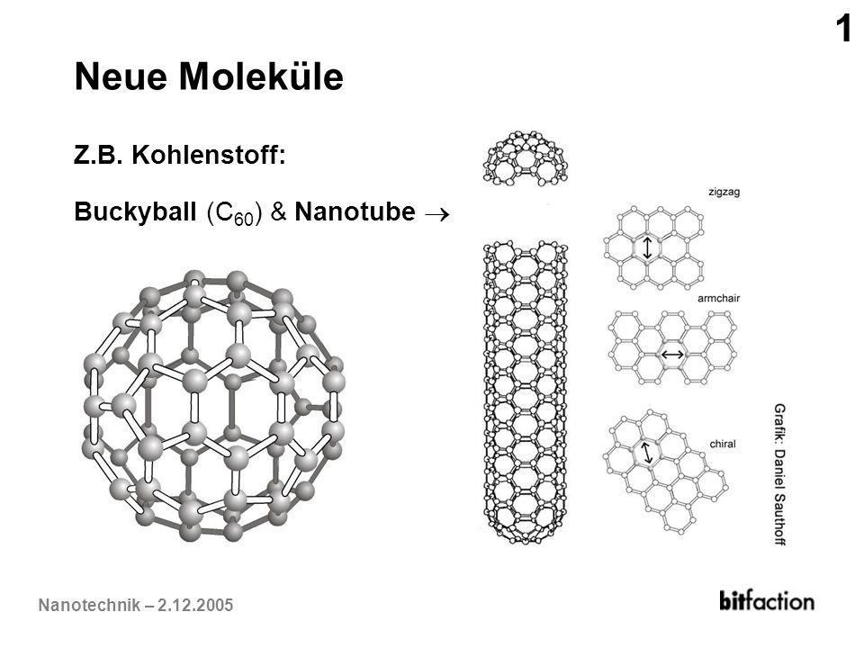 Nanotechnik – 2.12.2005 Neue Moleküle Z.B. Kohlenstoff: Buckyball (C 60 ) & Nanotube 1