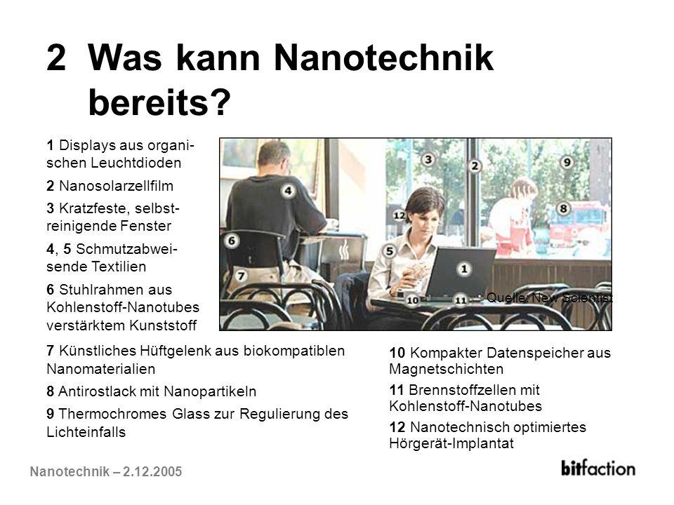 Nanotechnik – 2.12.2005 2 Was kann Nanotechnik bereits? 1 Displays aus organi- schen Leuchtdioden 2 Nanosolarzellfilm 3 Kratzfeste, selbst- reinigende