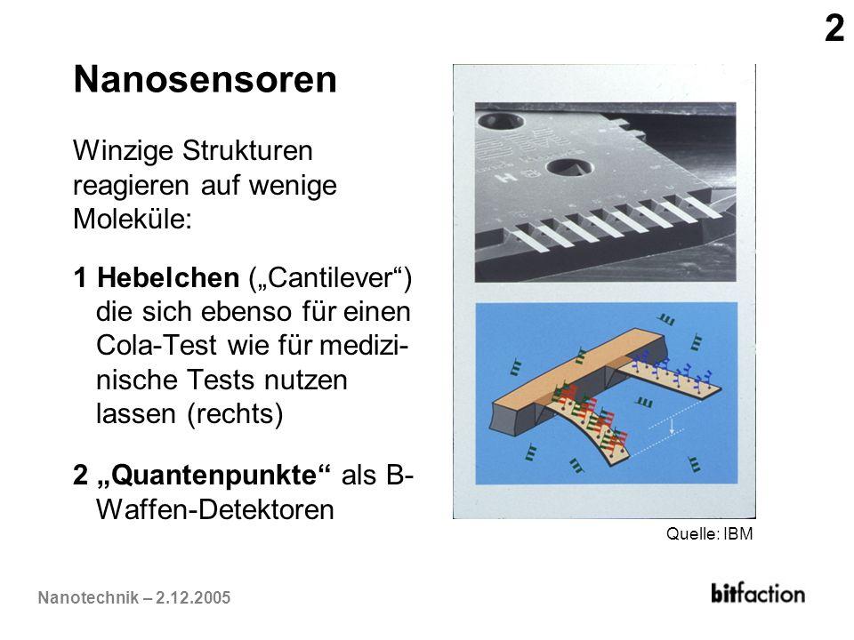 Nanotechnik – 2.12.2005 Nanosensoren Winzige Strukturen reagieren auf wenige Moleküle: 1 Hebelchen (Cantilever) die sich ebenso für einen Cola-Test wi