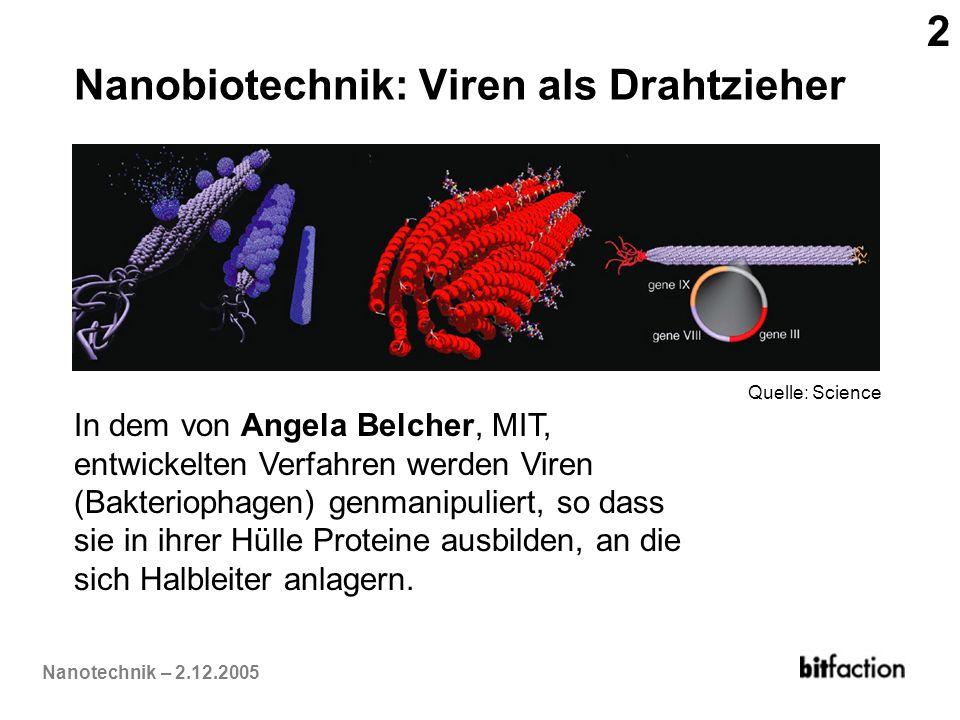 Nanotechnik – 2.12.2005 Nanobiotechnik: Viren als Drahtzieher In dem von Angela Belcher, MIT, entwickelten Verfahren werden Viren (Bakteriophagen) gen