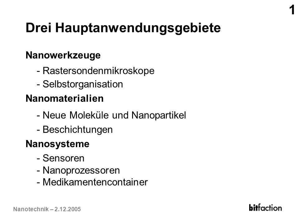Nanotechnik – 2.12.2005 Drei Hauptanwendungsgebiete Nanowerkzeuge - Rastersondenmikroskope - Selbstorganisation Nanomaterialien - Neue Moleküle und Na
