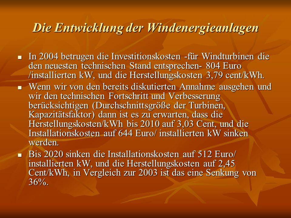 Die Entwicklung der Windenergieanlagen In 2004 betrugen die Investitionskosten -für Windturbinen die den neuesten technischen Stand entsprechen- 804 Euro /installierten kW, und die Herstellungskosten 3,79 cent/kWh.