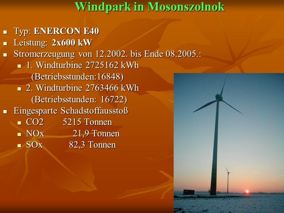 Windpark in Mosonszolnok Windpark in Mosonszolnok Typ: ENERCON E40 Typ: ENERCON E40 Leistung: 2x600 kW Leistung: 2x600 kW Stromerzeugung von 12.2002.