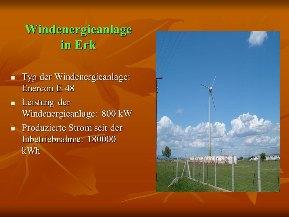 Windenergieanlage in Erk Windenergieanlage in Erk Typ der Windenergieanlage: Enercon E-48 Typ der Windenergieanlage: Enercon E-48 Leistung der Windenergieanlage: 800 kW Leistung der Windenergieanlage: 800 kW Produzierte Strom seit der Inbetriebnahme: 180000 kWh Produzierte Strom seit der Inbetriebnahme: 180000 kWh