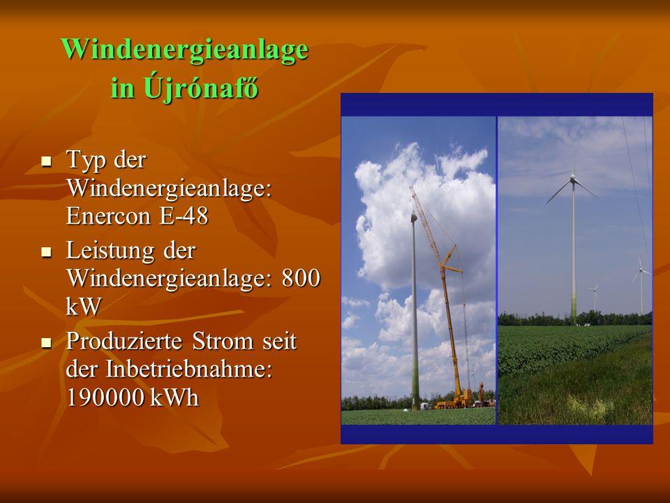 Windenergieanlage in Újrónafő Typ der Windenergieanlage: Enercon E-48 Typ der Windenergieanlage: Enercon E-48 Leistung der Windenergieanlage: 800 kW Leistung der Windenergieanlage: 800 kW Produzierte Strom seit der Inbetriebnahme: 190000 kWh Produzierte Strom seit der Inbetriebnahme: 190000 kWh