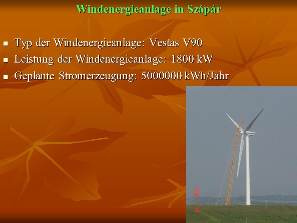 Windenergieanlage in Szápár Typ der Windenergieanlage: Vestas V90 Typ der Windenergieanlage: Vestas V90 Leistung der Windenergieanlage: 1800 kW Leistung der Windenergieanlage: 1800 kW Geplante Stromerzeugung: 5000000 kWh/Jahr Geplante Stromerzeugung: 5000000 kWh/Jahr