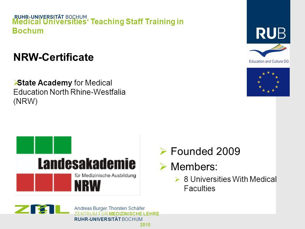NRW-Certificate State Academy for Medical Education North Rhine-Westfalia (NRW) Andreas Burger, Thorsten Schäfer ZENTRUM FÜR MEDIZINISCHE LEHRE RUHR-U