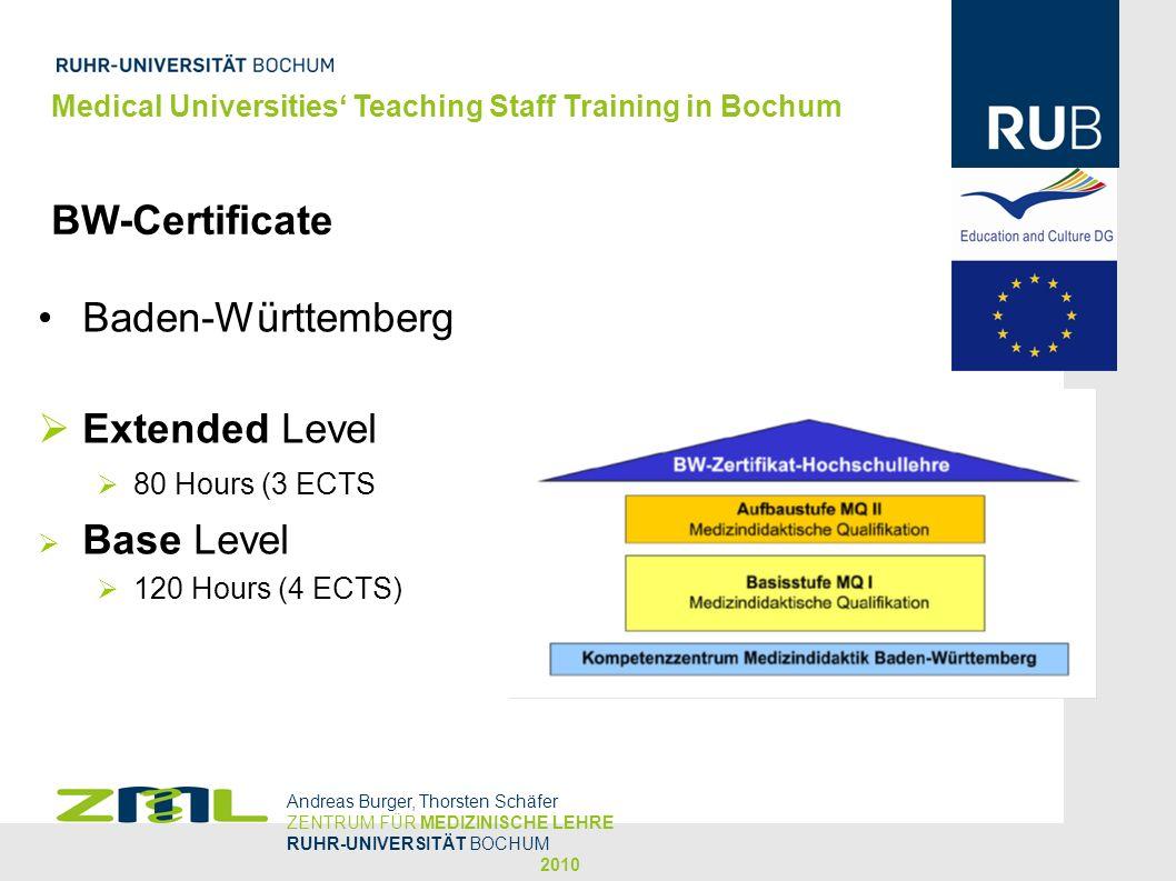 Medical Universities Teaching Staff Training in Bochum BW-Certificate Andreas Burger, Thorsten Schäfer ZENTRUM FÜR MEDIZINISCHE LEHRE RUHR-UNIVERSITÄT