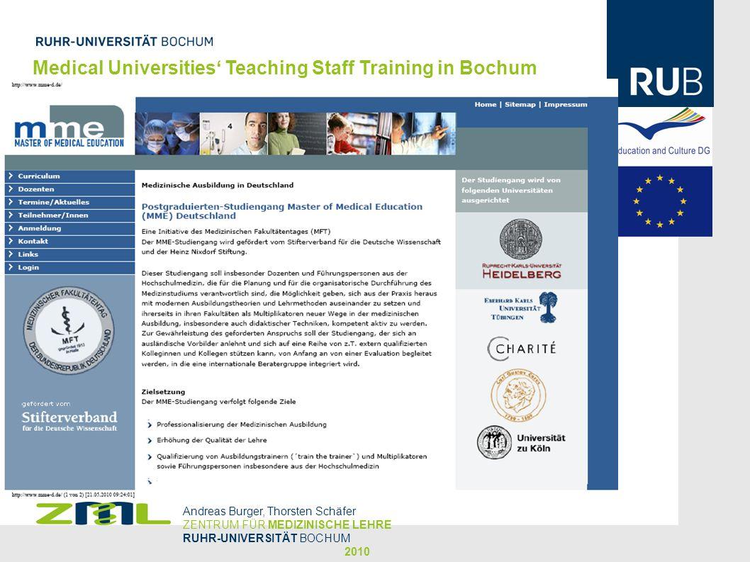 Medical Universities Teaching Staff Training in Bochum Andreas Burger, Thorsten Schäfer ZENTRUM FÜR MEDIZINISCHE LEHRE RUHR-UNIVERSITÄT BOCHUM 2010